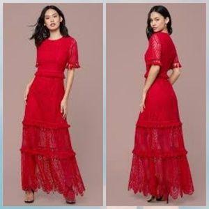 Bebe Lace Tassel Tier gown